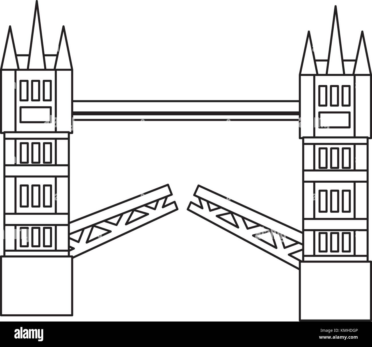 london tower bridge united kingdom landmark - Stock Vector