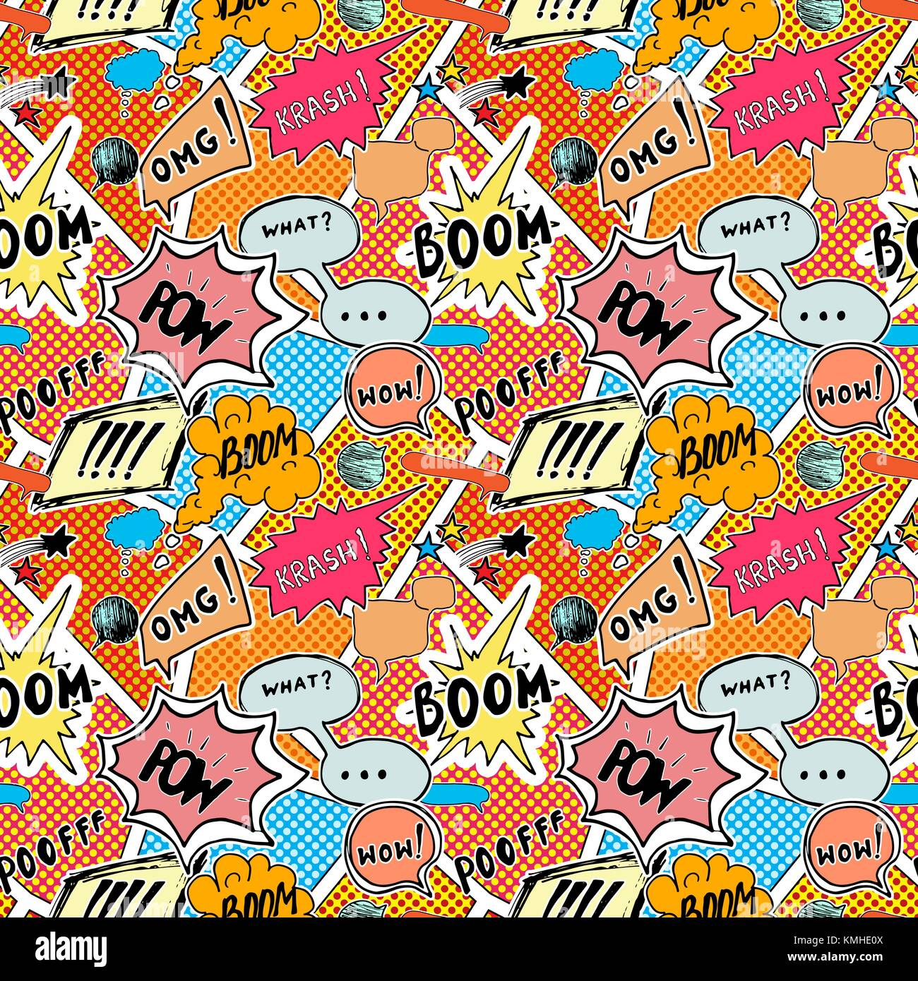 Seamless pattern background with handdrawn comic book speech bubbles