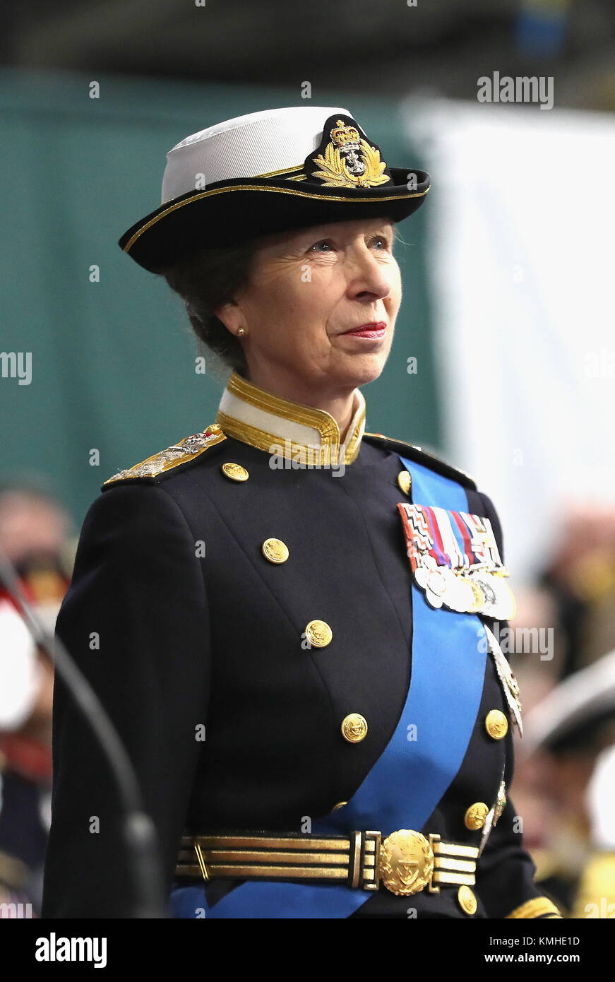 The Princess Royal, Commodore-in-Chief, HMNB Portsmouth, during the commissioning of HMS Queen Elizabeth, Britain's - Stock Image