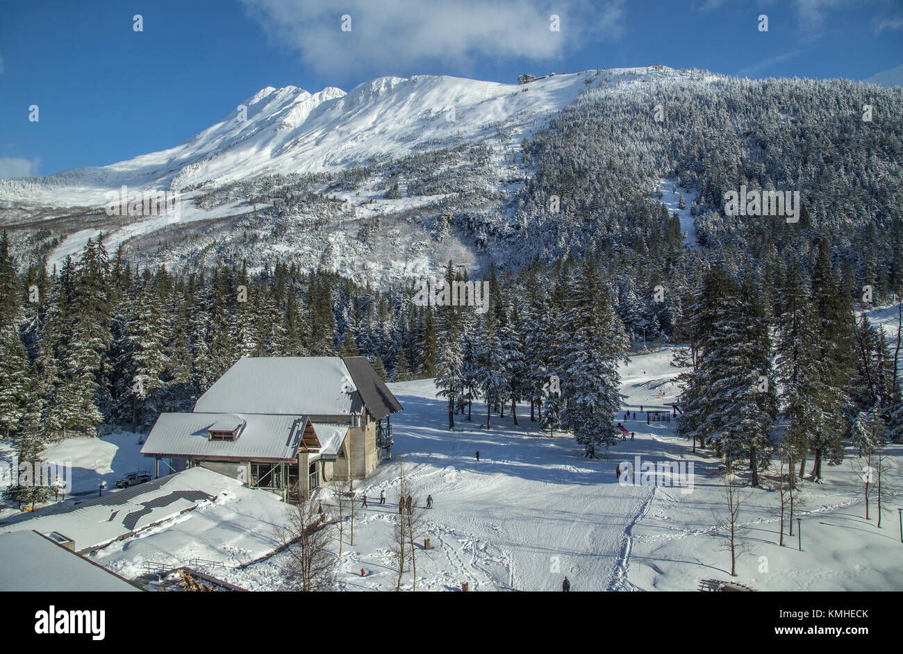 View from the The Alyeska Resort Hotel overlooking the ski runs and cable car in Girdwood, in the Chugach mountains, - Stock Image