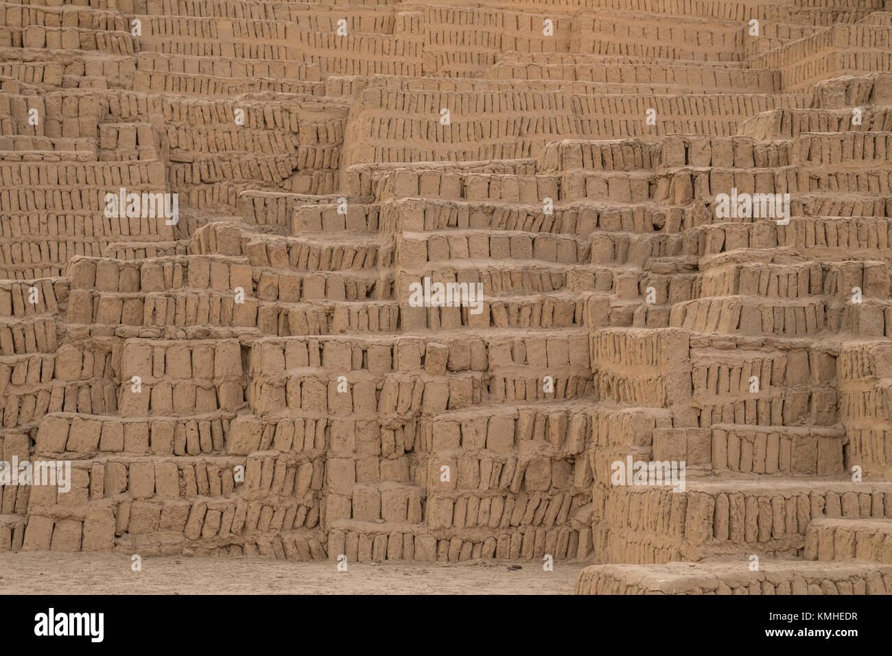 Huaca Pucllana or Huaca Juliana, a huge adobe and clay pyramid in the Miraflores district of central Lima, Peru, - Stock Image