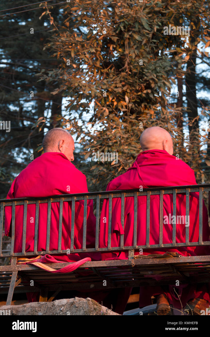Two Tibetan Buddhist monks sitting down - Stock Image