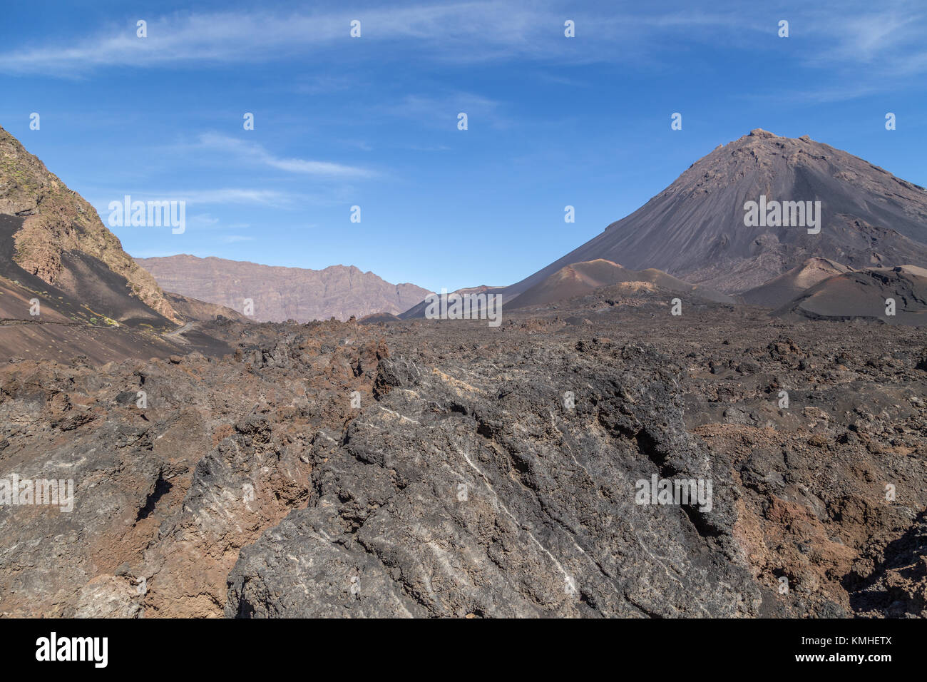 Pico do Fogo and solidified lava in Cha das Caldeiras in the Parque Natural do Fogo on the island of Fogo, Cape - Stock Image