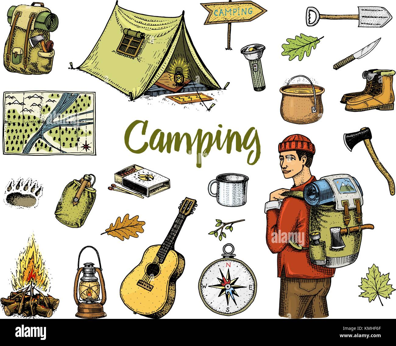 Camping Equipment Set Outdoor Adventure Hiking Traveling Man With Luggage Tourism Trip Engraved Hand Drawn In Old Sketch Vintage Style Guitar And