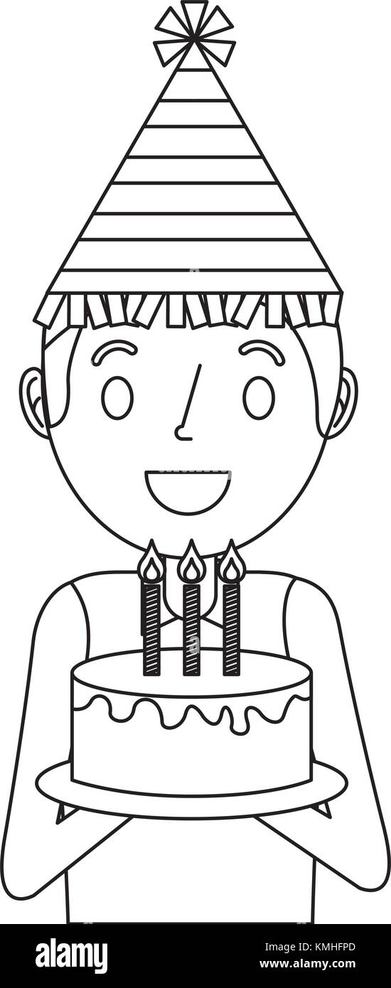 Happy Man Holding Birthday Cake Wearing Party Hat