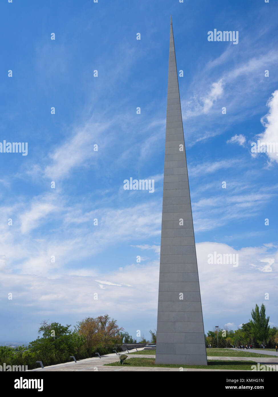 Armenian heritage, the genocide memorial and museum, Tsitsernakaberd,on a hilltop n Yerevan Armenia, close up of - Stock Image