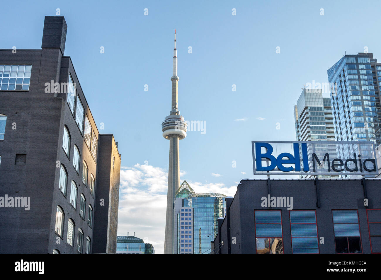 TORONTO, CANADA - DECEMBER 20, 2016: Bell Media main office for Toronto and its logo with the Canadian National - Stock Image