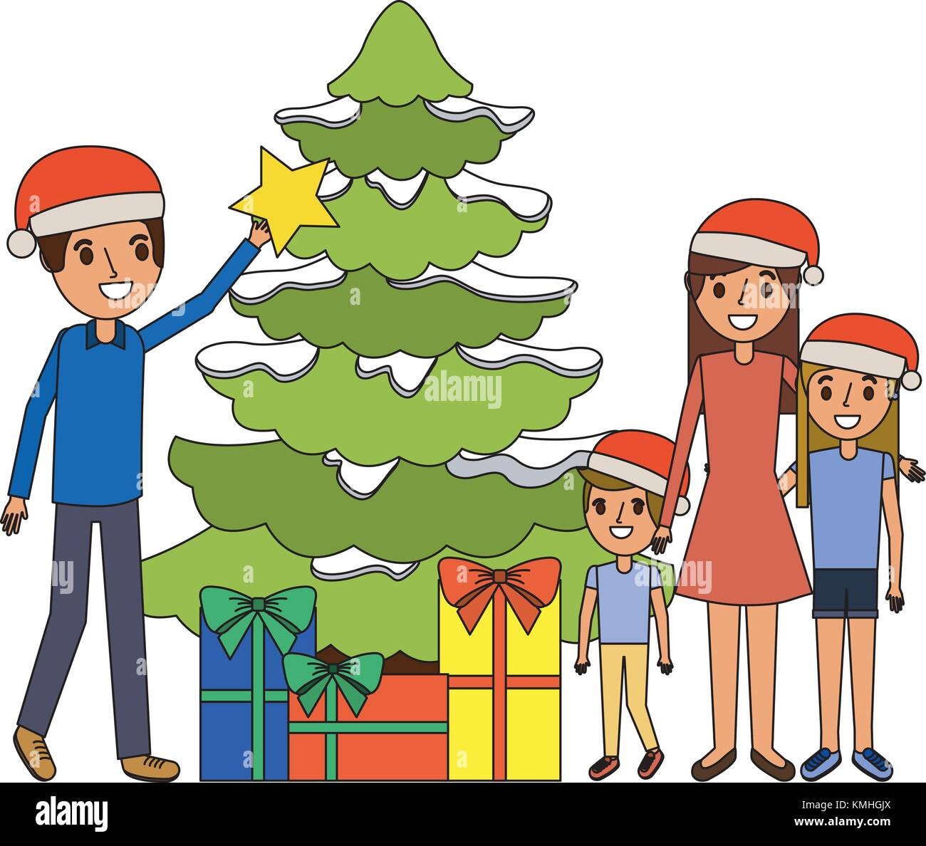 Family Decorating Christmas Tree And Gift Boxes Stock Vector Image Art Alamy