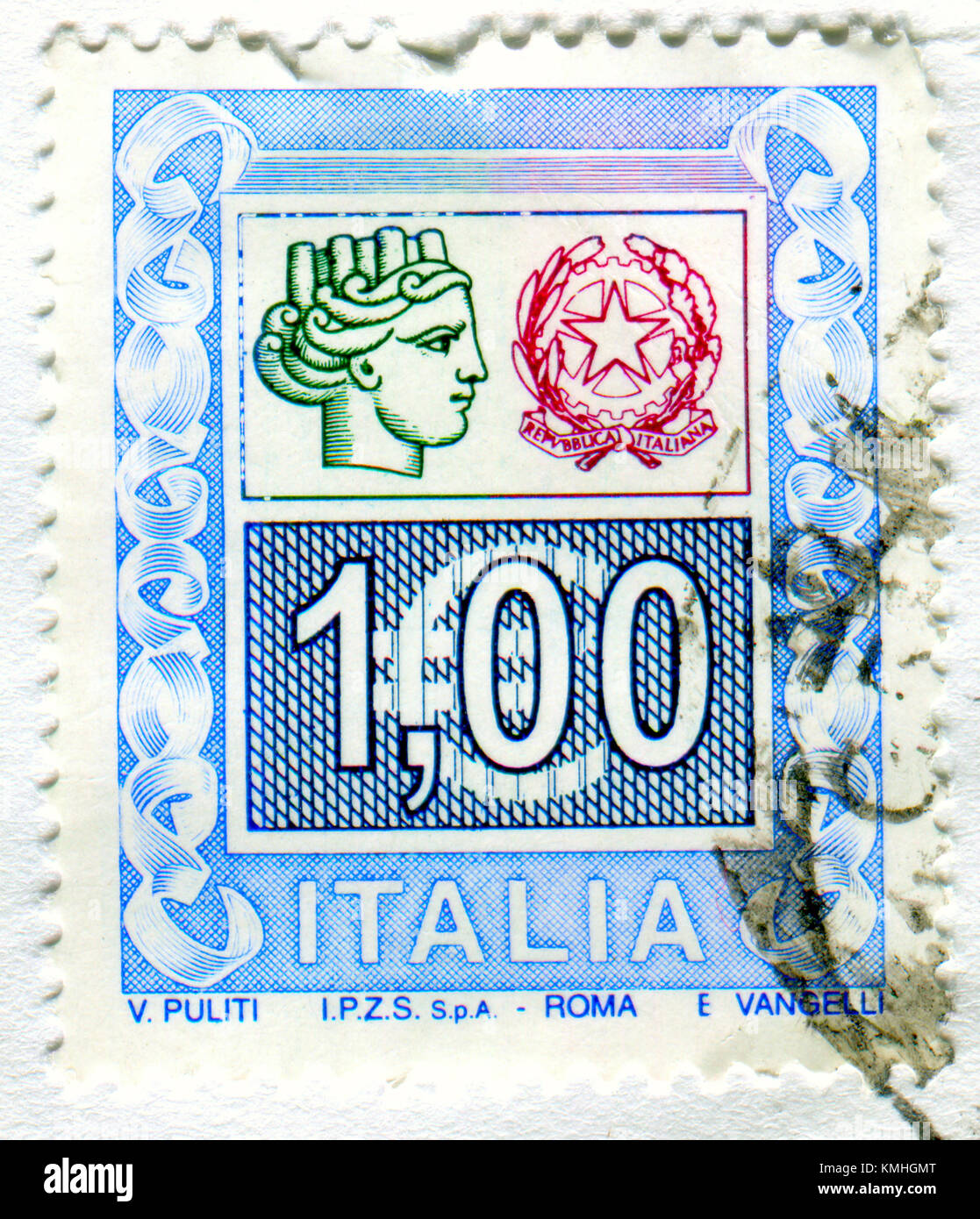 GOMEL, BELARUS, 4 DECEMBER 2017, Stamp printed in Italy shows image of the Republica Italiana, circa 2017. Stock Photo