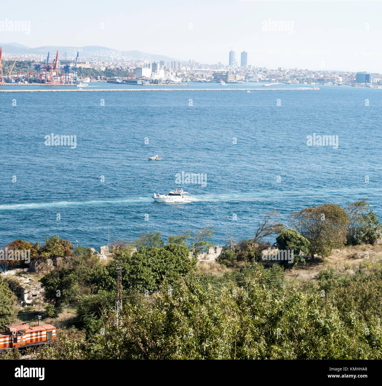 The Bosphorus. The strait that connects the Black Sea to the Sea of Marmara and marks the southern boundary between - Stock Image