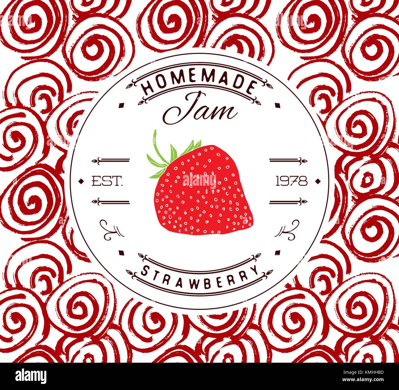 Jam label design template. for strawberry dessert product with hand ...