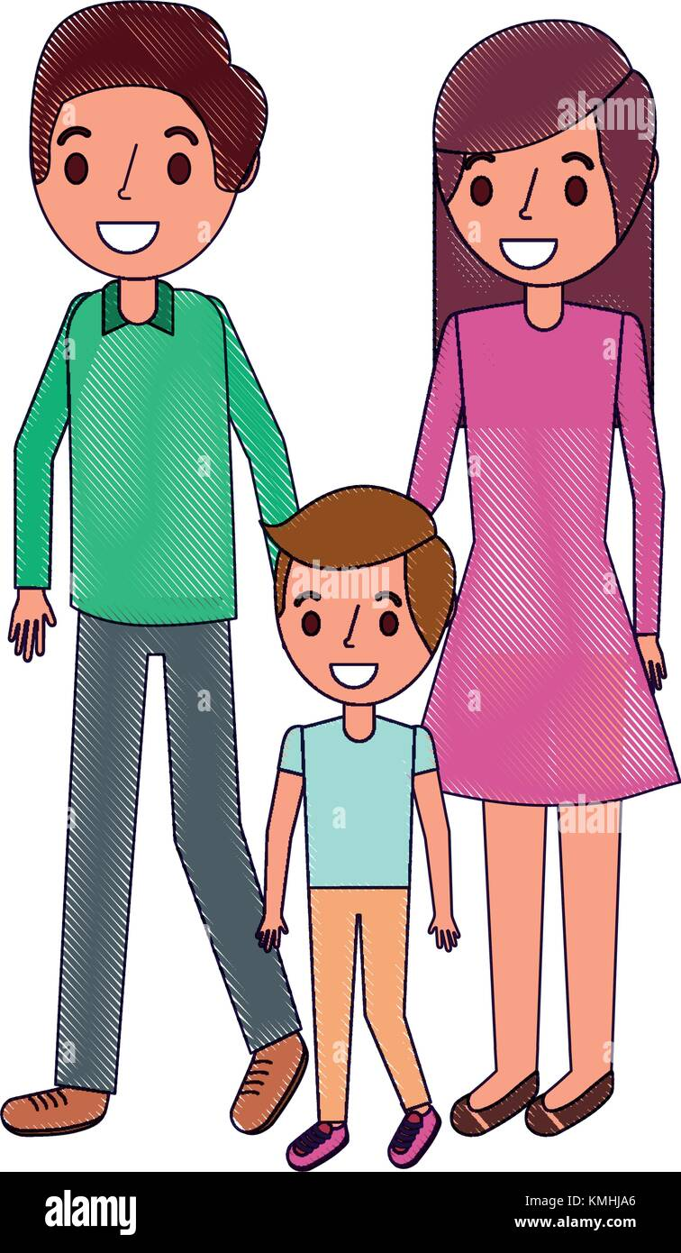 family father mother and son together standing - Stock Vector