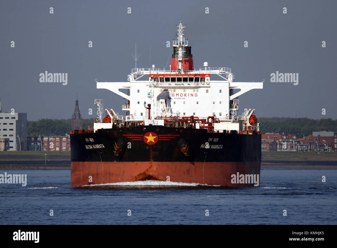The tanker Ratna Namrata passes on 10 May 2017 Terneuzen on the way to Antwerp. - Stock Image