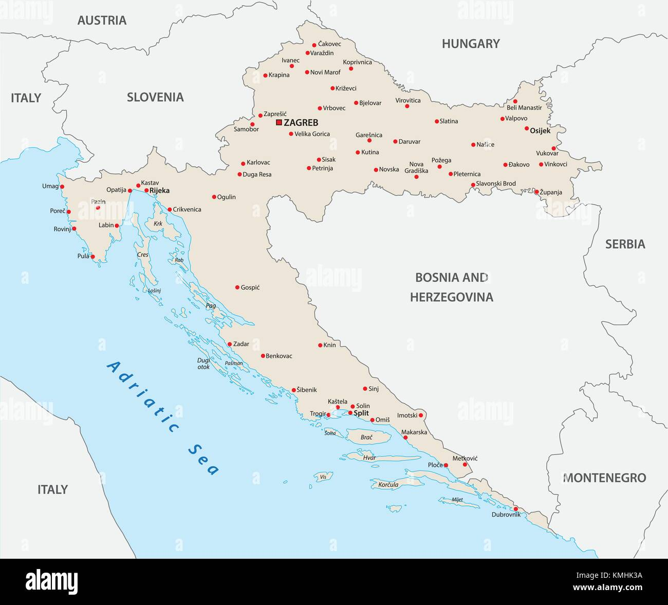 Croatia Map Outline Vector Stock Photos & Croatia Map Outline Vector ...