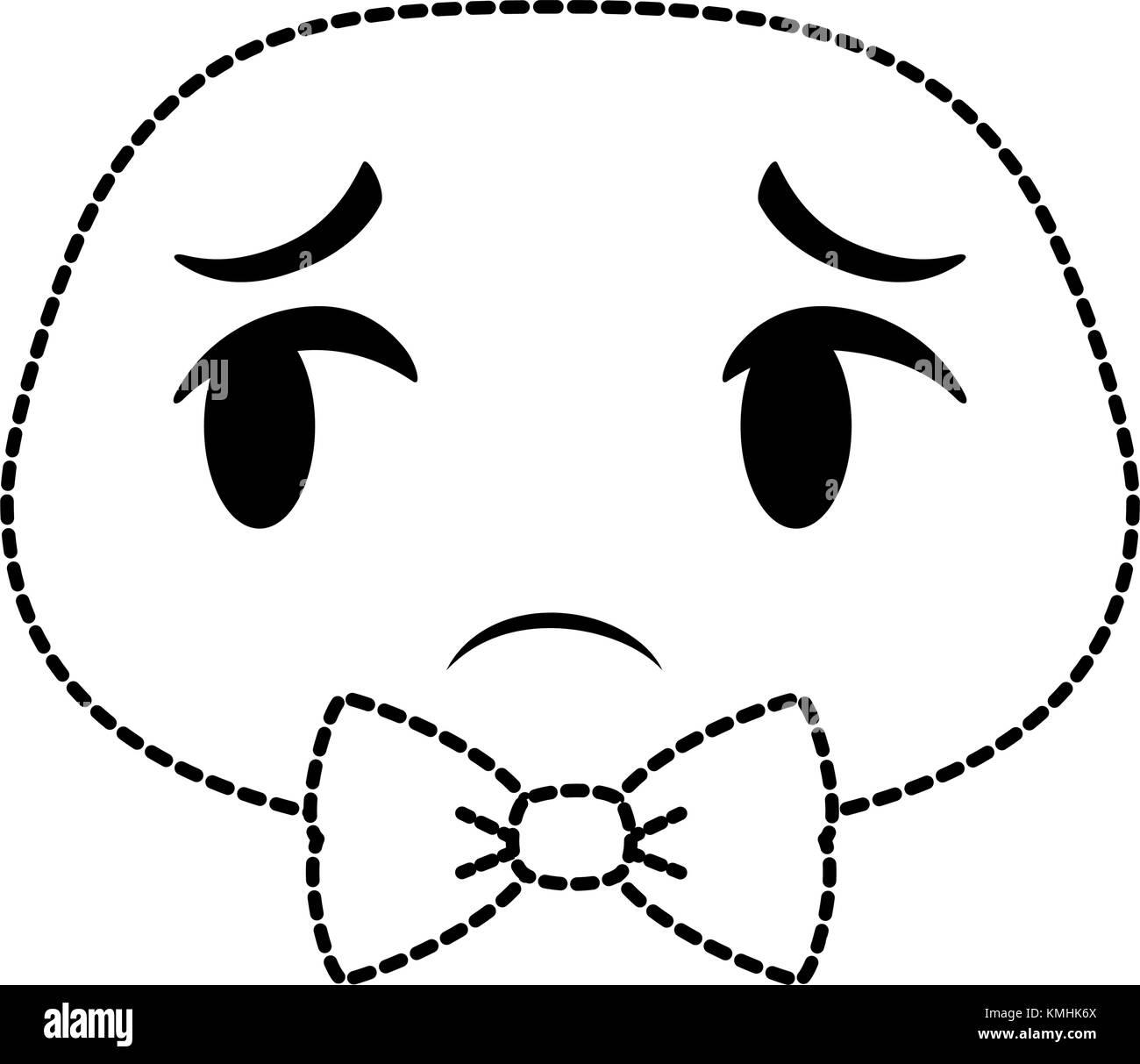 sad emoji face icon - Stock Image