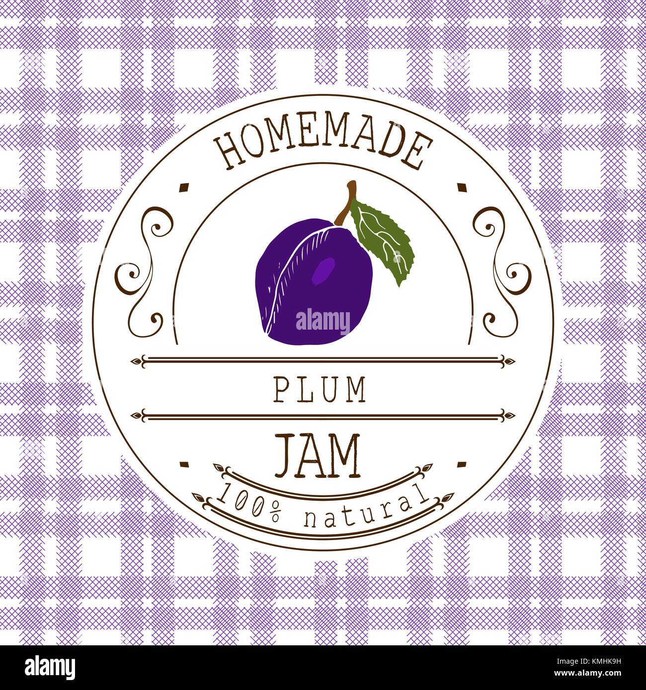 jam label design template for plum dessert product with.html