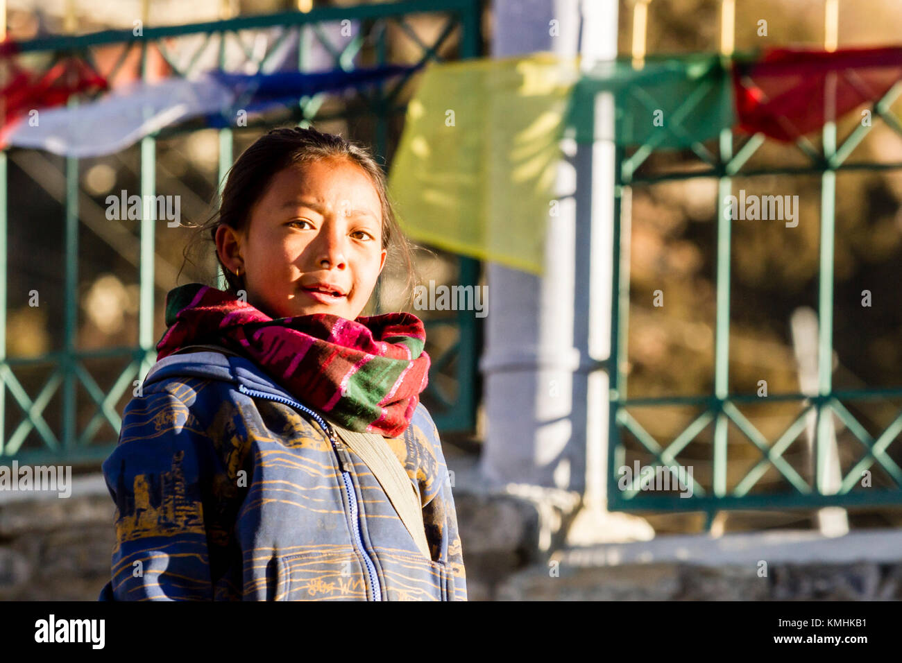 Nepalese child. Mountain village Braga, Nepal, Himalayas - Stock Image