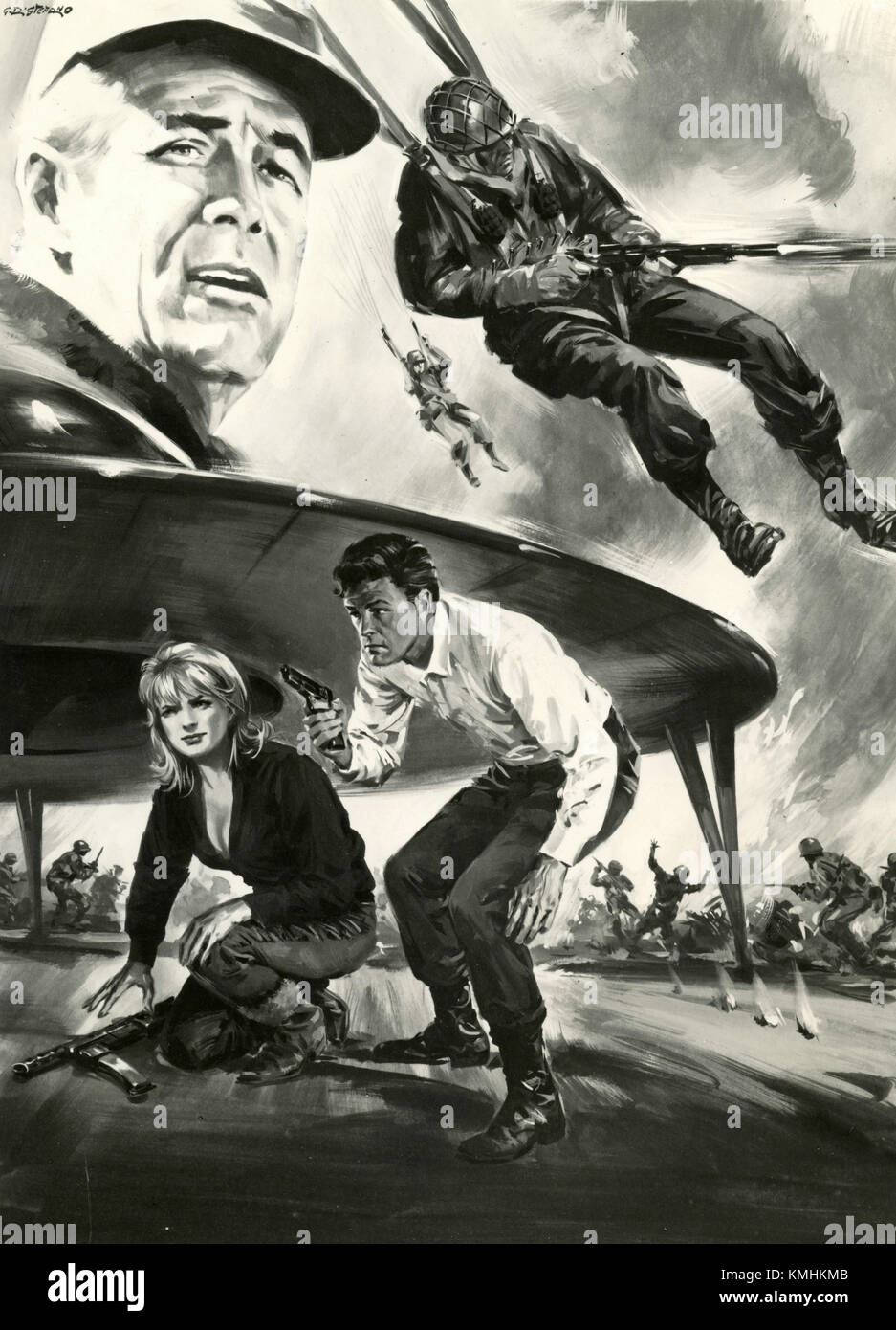 Movie poster illustration of the film The Bamboo Saucer, 1968 - Stock Image