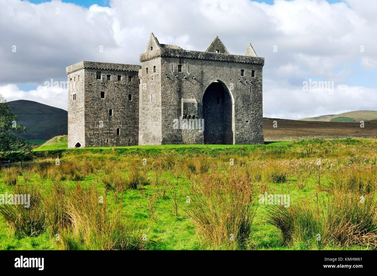 Hermitage Castle in Liddesdale in the Borders Region. For centuries part of the debateable lands between England Stock Photo