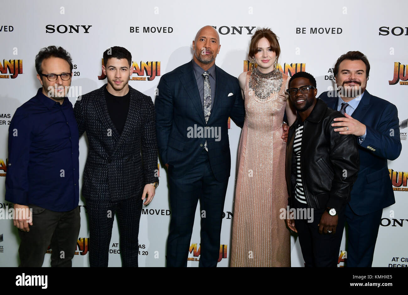 (Left to right) Jake Kasdan, Nick Jonas, Dwayne Johnson, Karen Gillan, Kevin Hart and Jack Black attending the Jumanji: Welcome to the Jungle Premiere held at The Vue West End in Leicester Square, London. Stock Photo