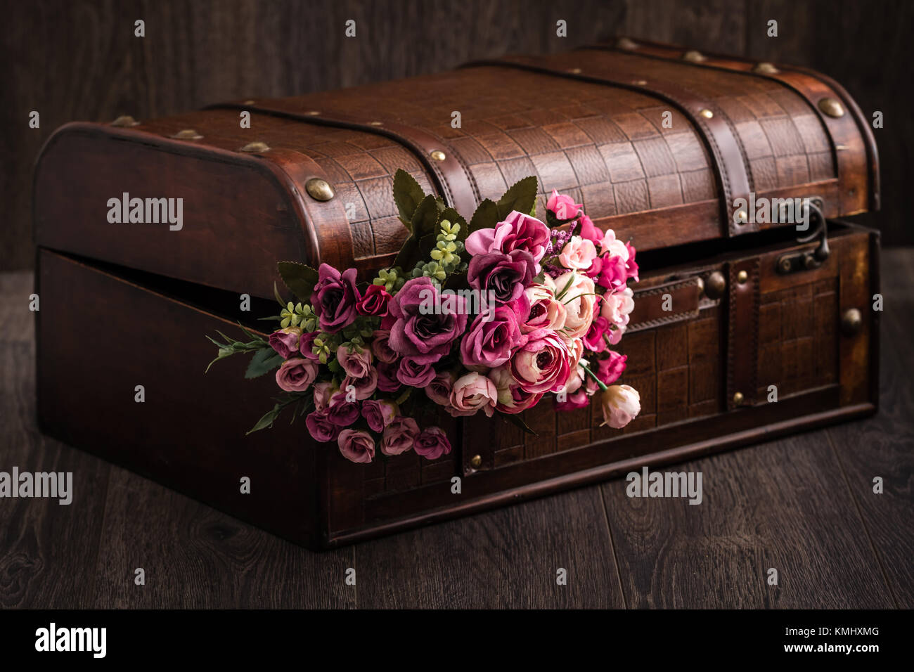 Beautiful Decorative Trunk Treasure Chest Storage Box On Brown Background