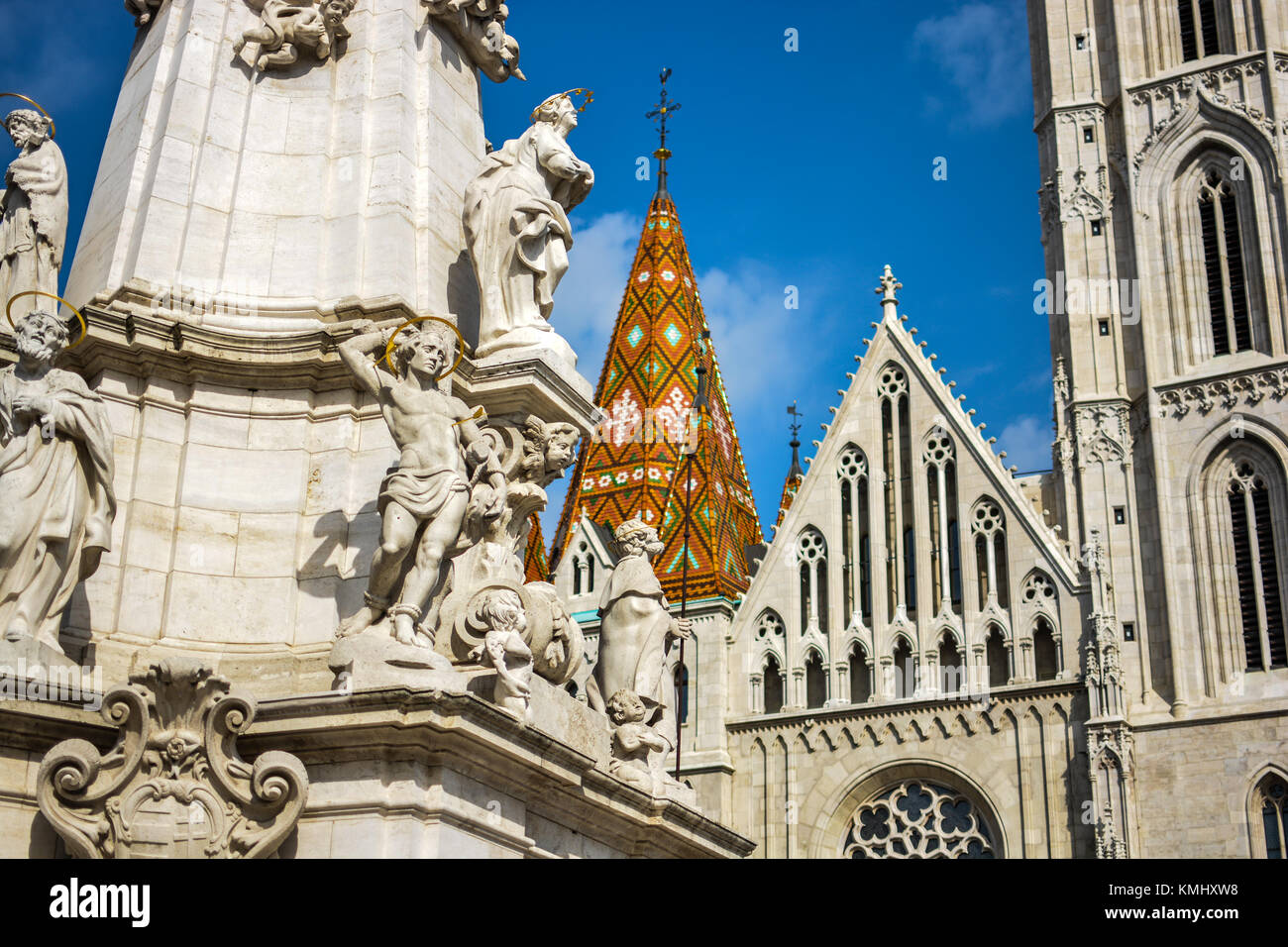 Matthias Church on a sunny day in early autumn at Budapest's Castle District - Stock Image