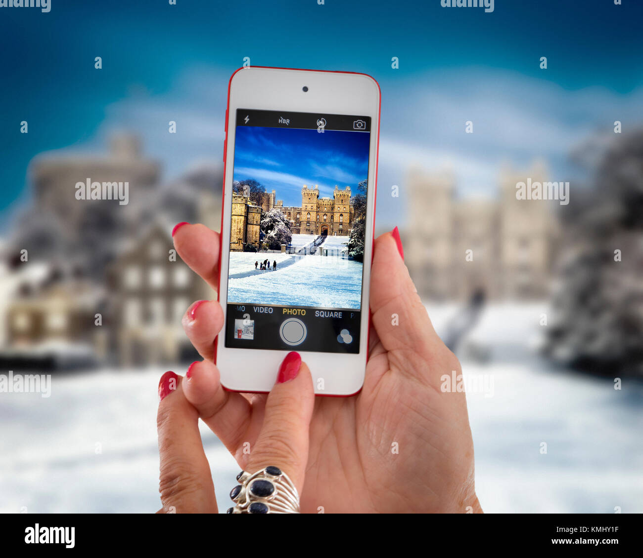 GB - BERKSHIRE: Windsor Castle in Winter - Stock Image