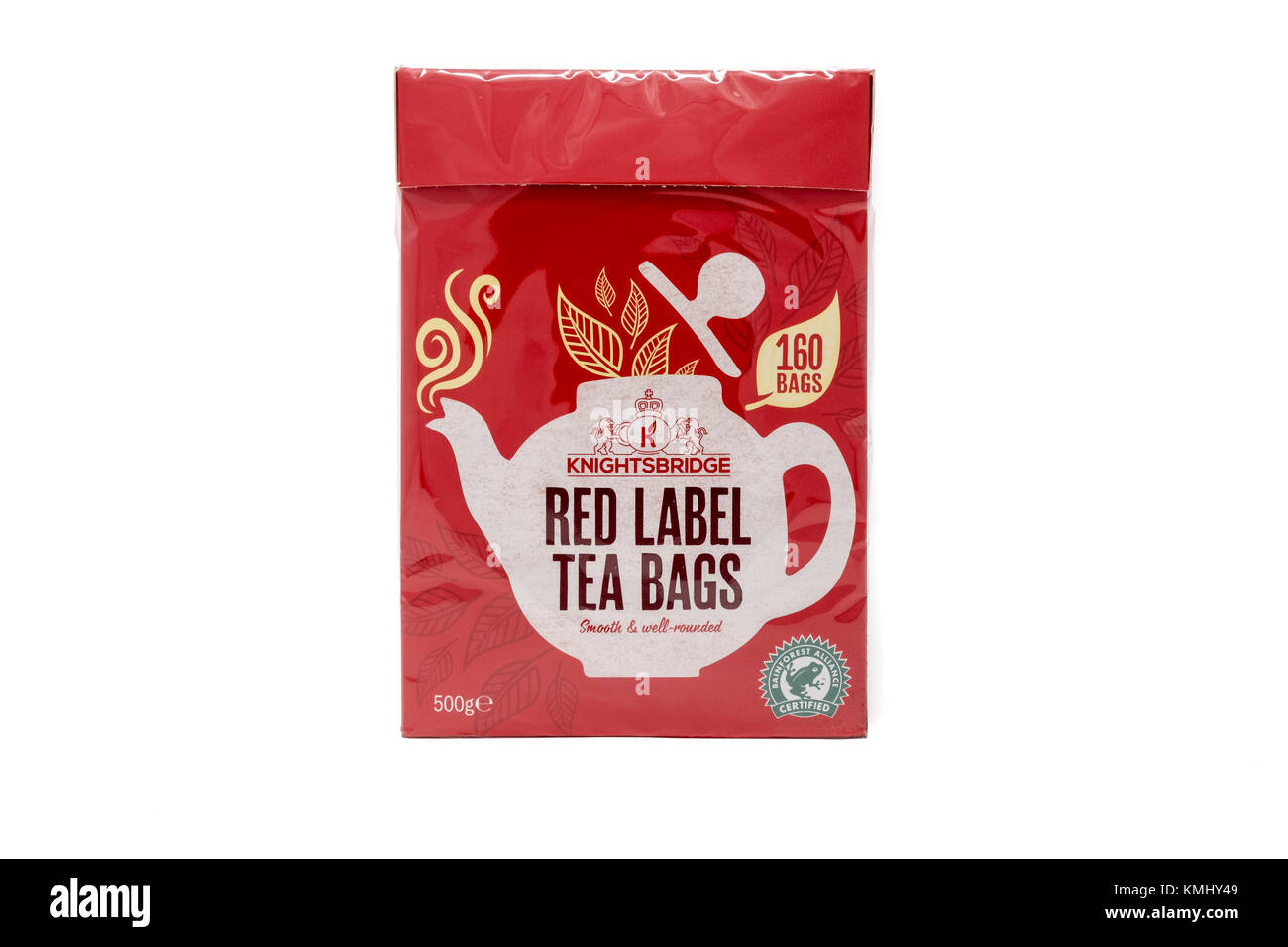 Box of Rainforest Alliance certified tea bags - Stock Image