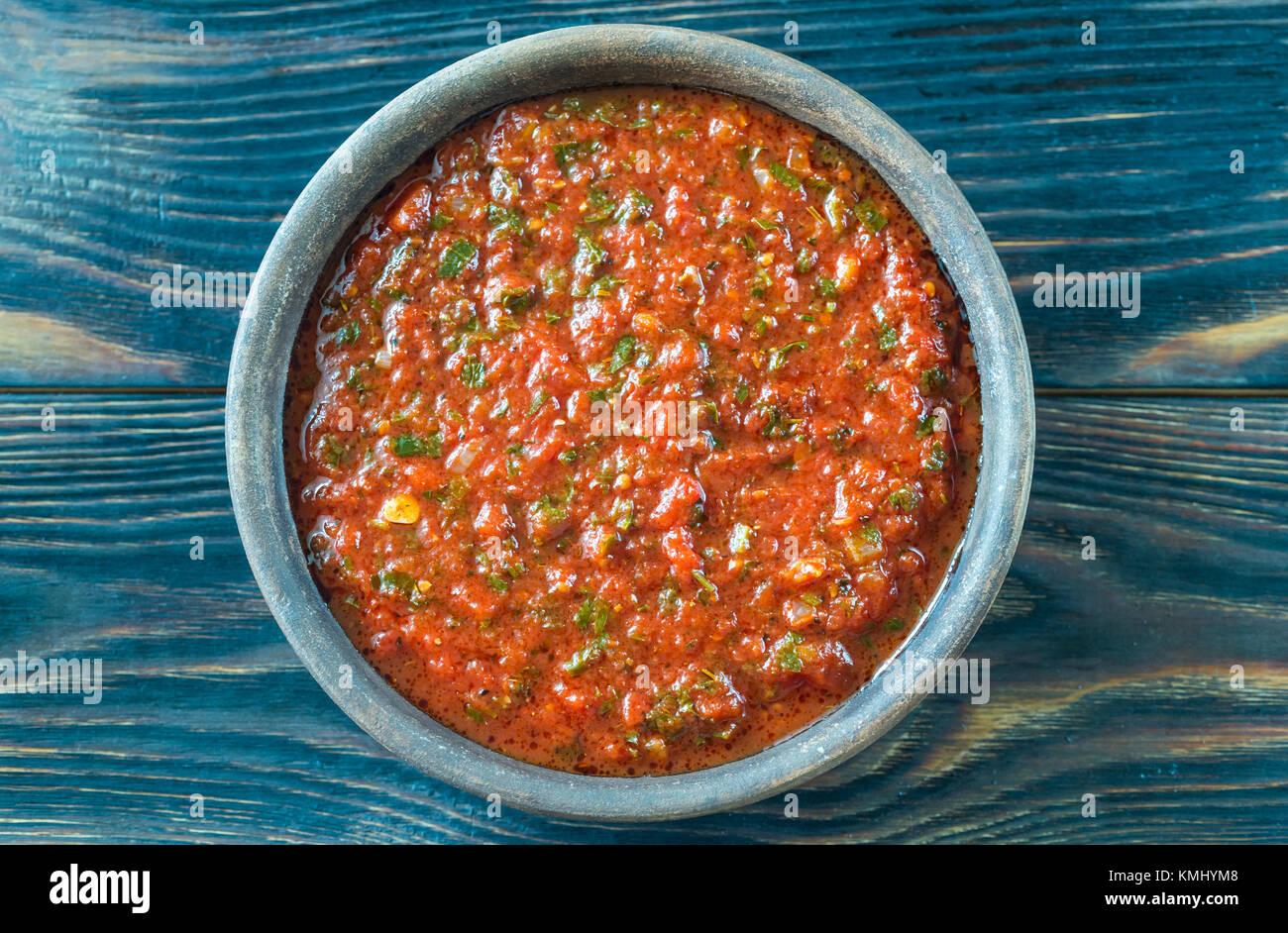 Bowl of Marinara- Italian tomato sauce Stock Photo
