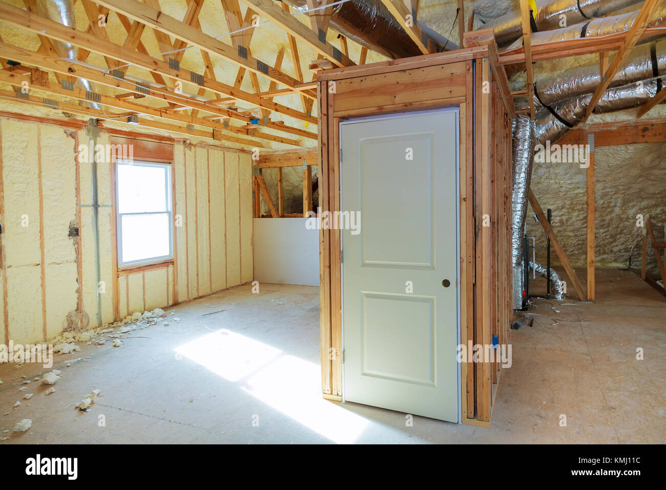 thermal and hidro insulation Inside wall insulation Interior view construction new residential home. Stock Photo