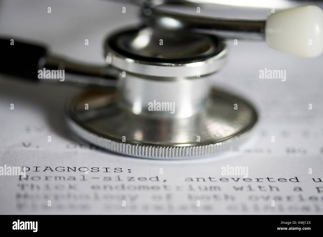 Concept Image of health featuring a printout with medical wording of Diagnosis - Stock Image