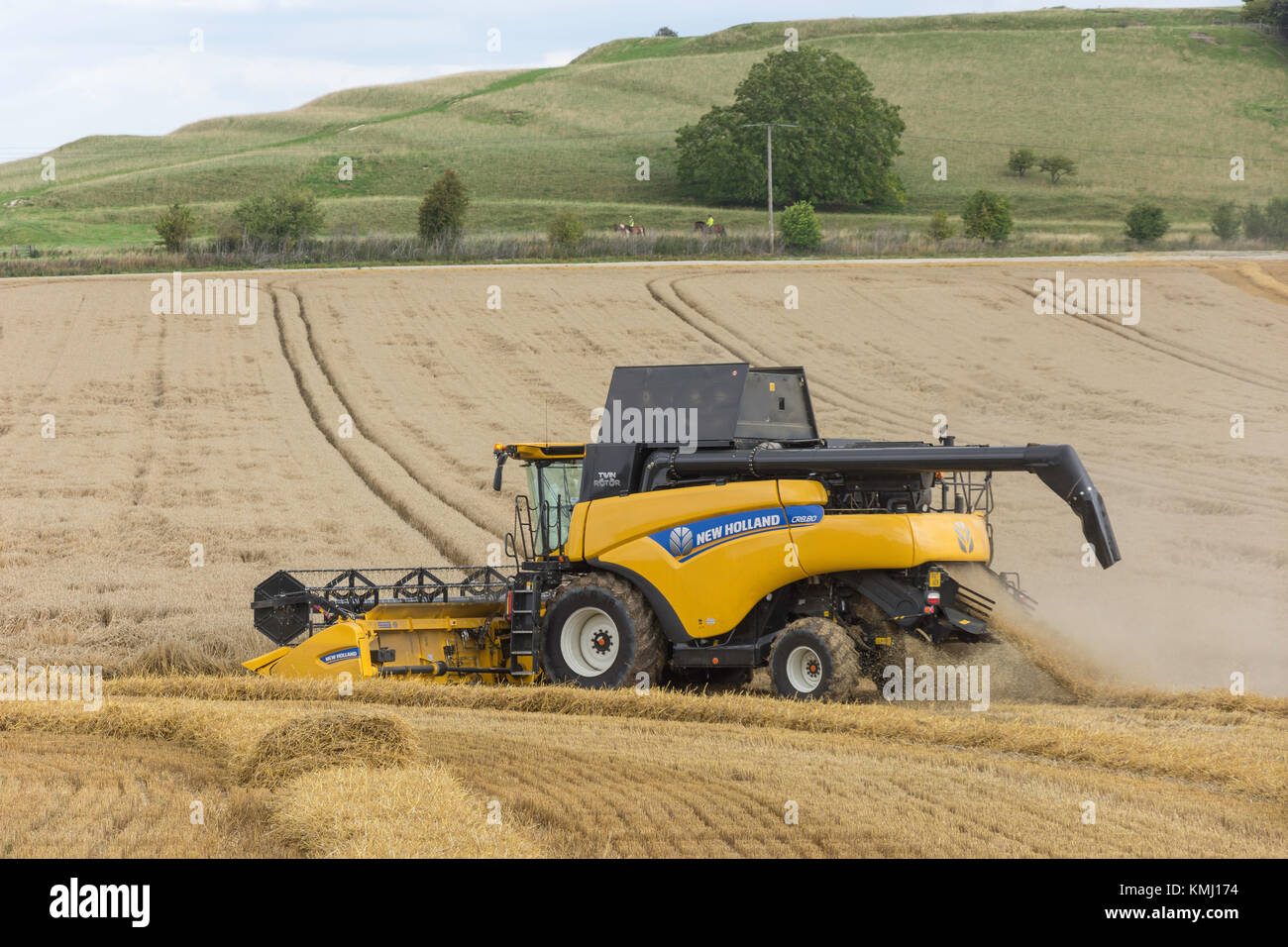 New Holland Twin Rotor Combine Harvester harvesting wheat near Didcot, Oxfordshire, England, United Kingdom - Stock Image