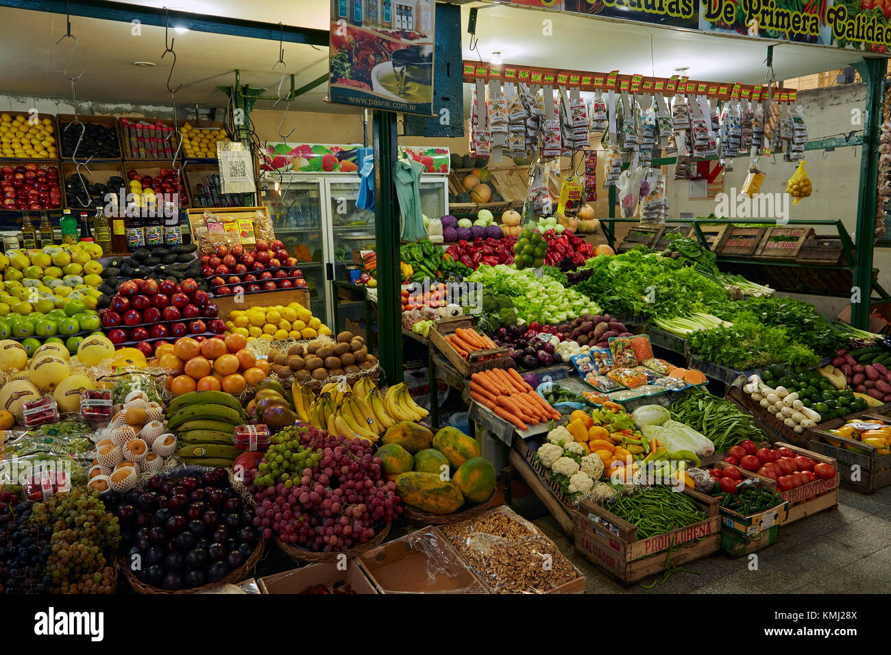 Produce stall, San Telmo Market, San Telmo, Buenos Aires, Argentina, South America - Stock Image