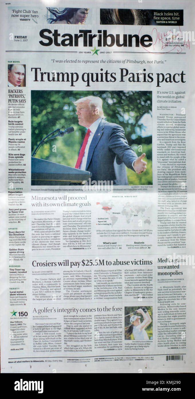 MPLS Star And Tribune Newspaper front page story 'Trump quits Paris pact'. Minneapolis Minnesota MN USA - Stock Image