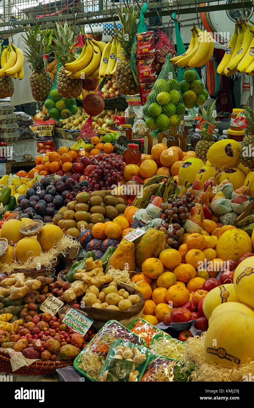 Produce stall, San Telmo Market, San Telmo, Buenos Aires, Argentina, South America Stock Photo