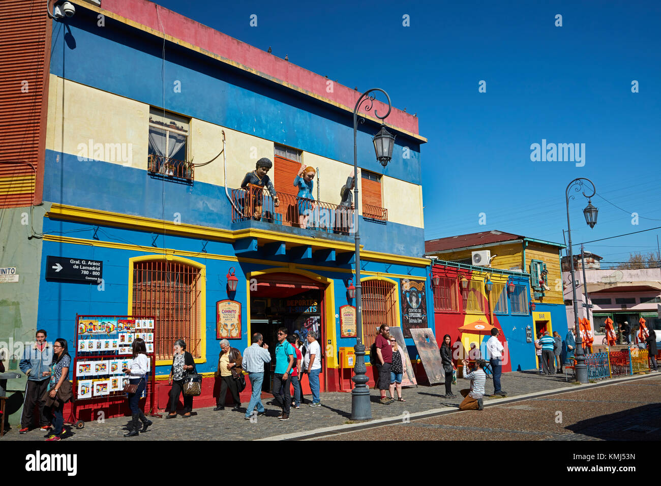 Tourists and souvenir shops, La Boca, Buenos Aires, Argentina, South America - Stock Image