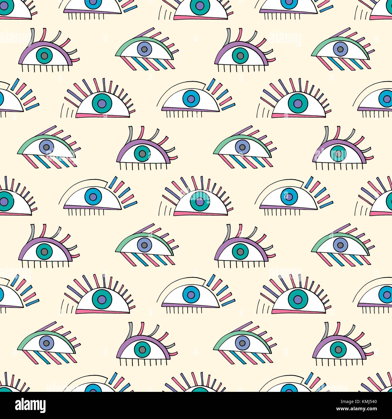 Hand drawn abstract eyes pattern. Colorful sight seamless vector background. Modern stylish texture for wallpaper, - Stock Image
