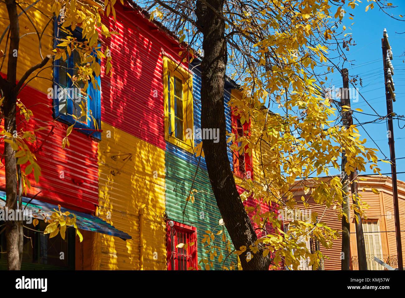 Colourful corrugated iron buildings, La Boca, Buenos Aires, Argentina, South America - Stock Image