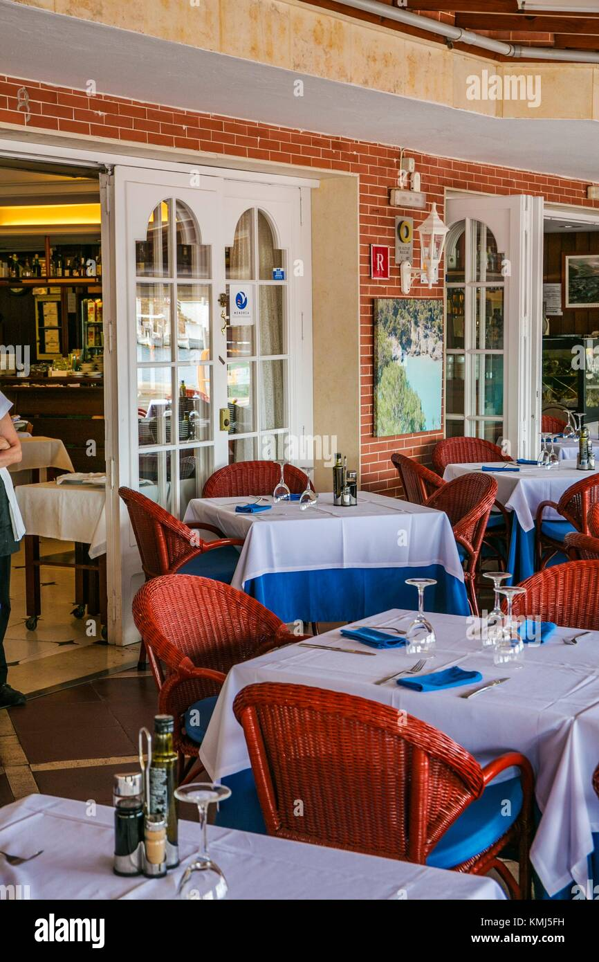 l´Ancora Restaurant. Fornells Village. Es Mercadal Municipality. Minorca Island. Balearic Islands. Spain - Stock Image