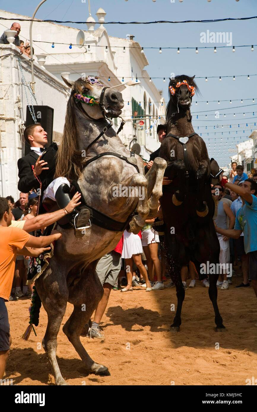 Jaleo. Traditional festivals Menorca which has its origin in the festival of Sant Joan. The protagonists are the - Stock Image