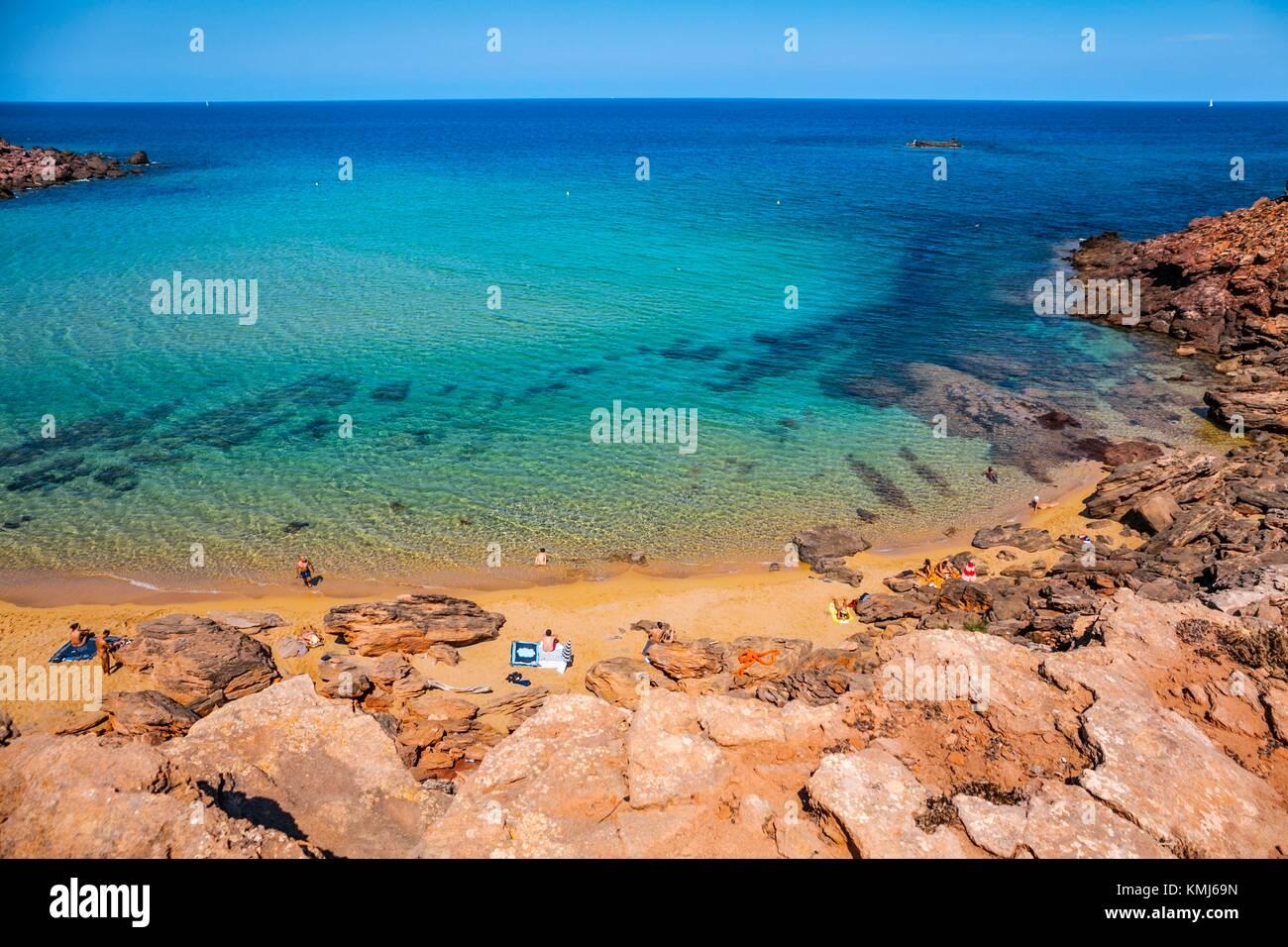 Cala Pilar Beach. Ciutadella de Menorca Municipality. Minorca. Balearic Islands. Spain - Stock Image