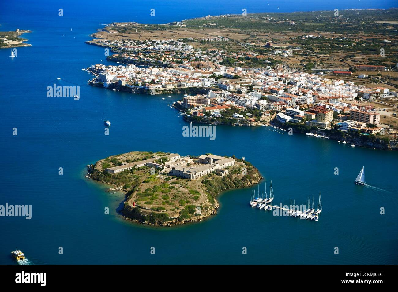 Isla del Rey and Es Castell. Minorca, Balearic Islands, Spain. - Stock Image