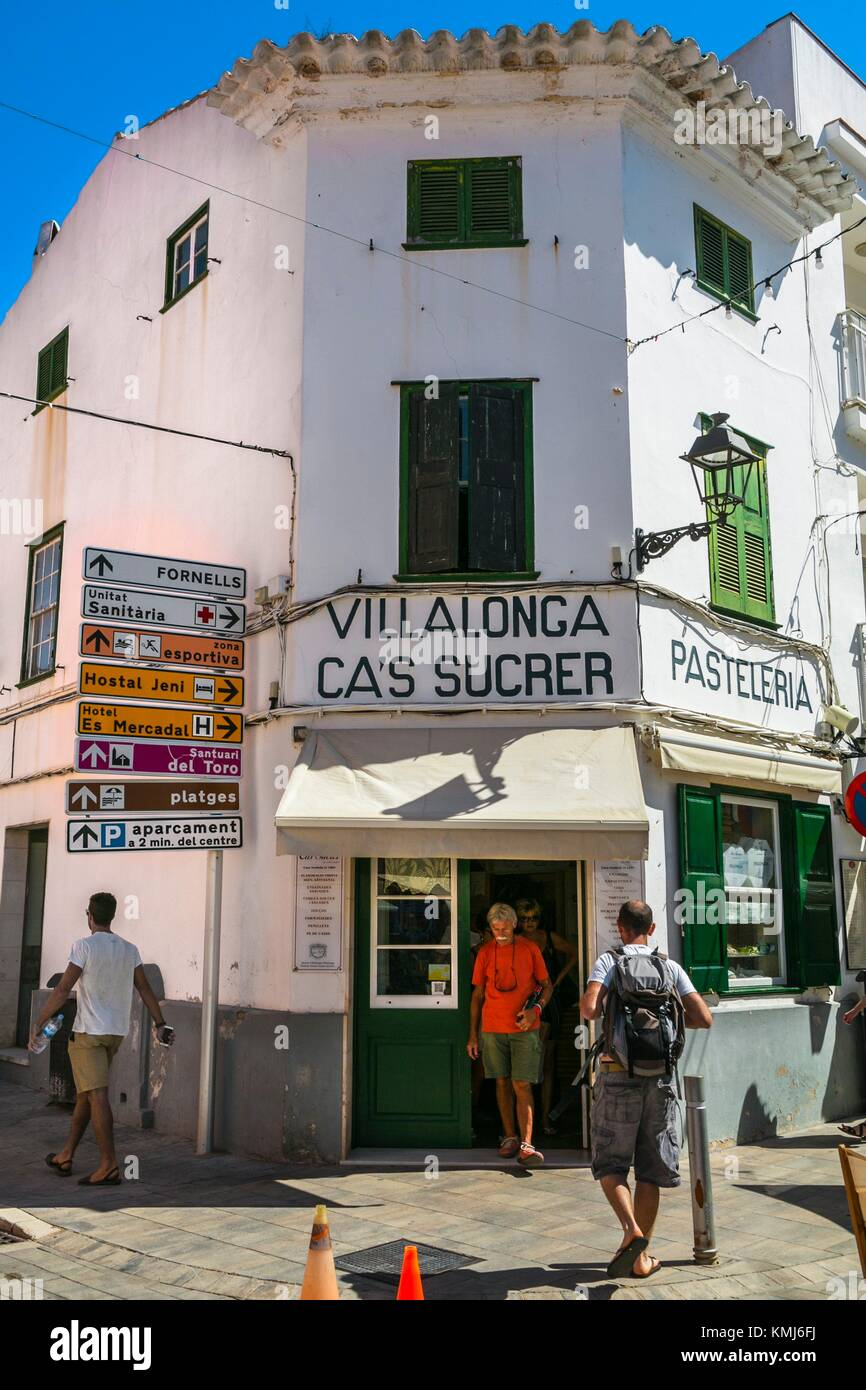 Pasteleria Sucrer Traditional Bakery. Es Mercadal Village. Es Mercadal Municipality. Minorca. Balearic Islands. - Stock Image