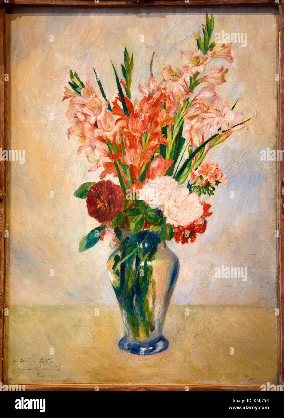Flowers in a Vase Gladioluses, by Pierre-Auguste Renoir, 1885, Musee d´Art Moderne, Troyes, Champagne-Ardenne - Stock Image