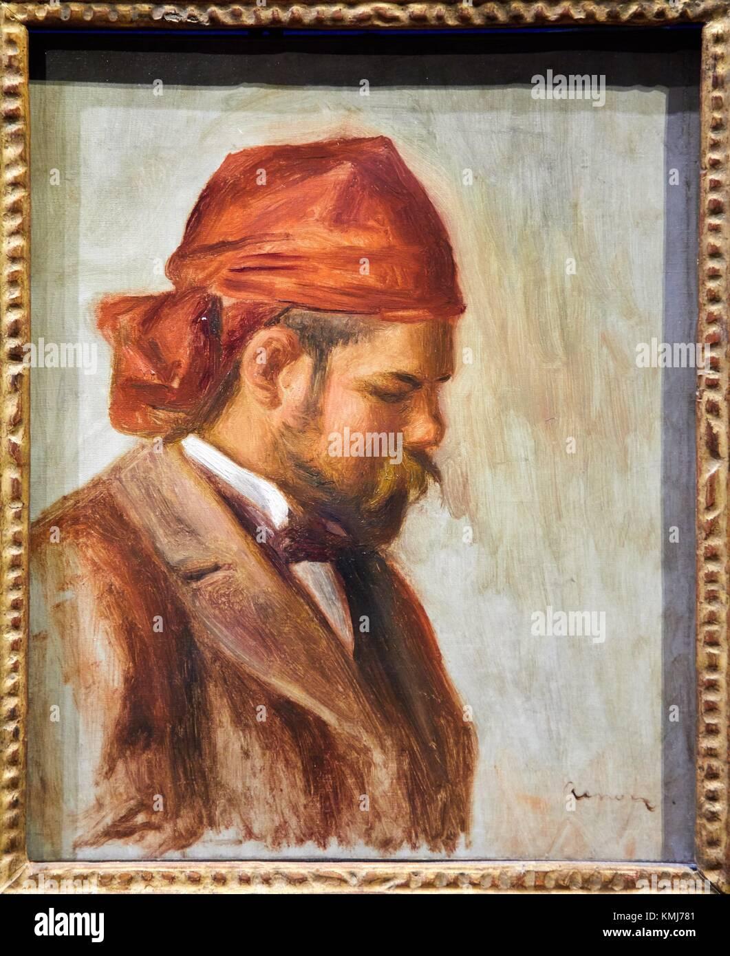 Portrait d´Ambroise Vollard au foulard rouge, 1899-1906, Pierre Auguste Renoir, Musee d´Art Moderne, Troyes, - Stock Image