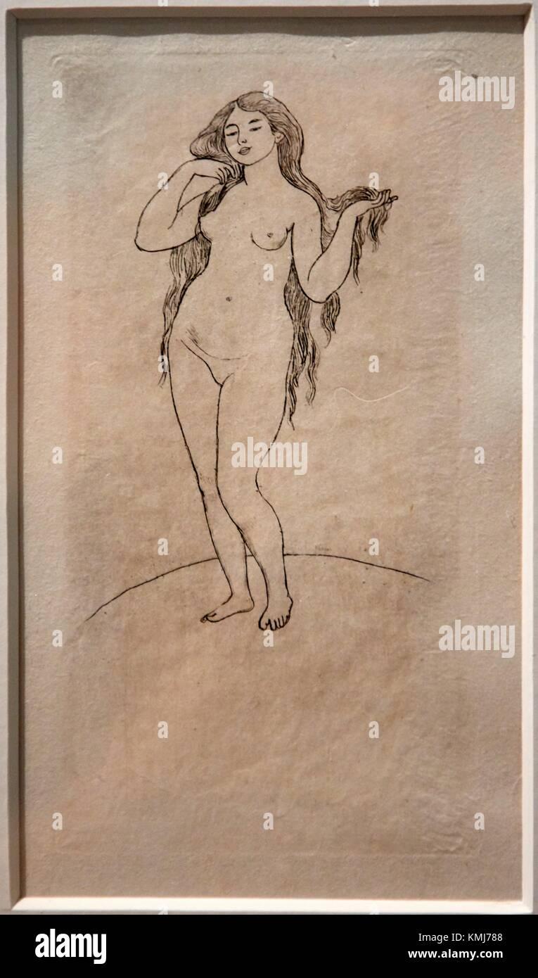 Pages avec un frontispice a l´eau forte de Renoir, 1891, Stephane Mallarme, Pierre Auguste Renoir, Musee d´Art Moderne, Stock Photo