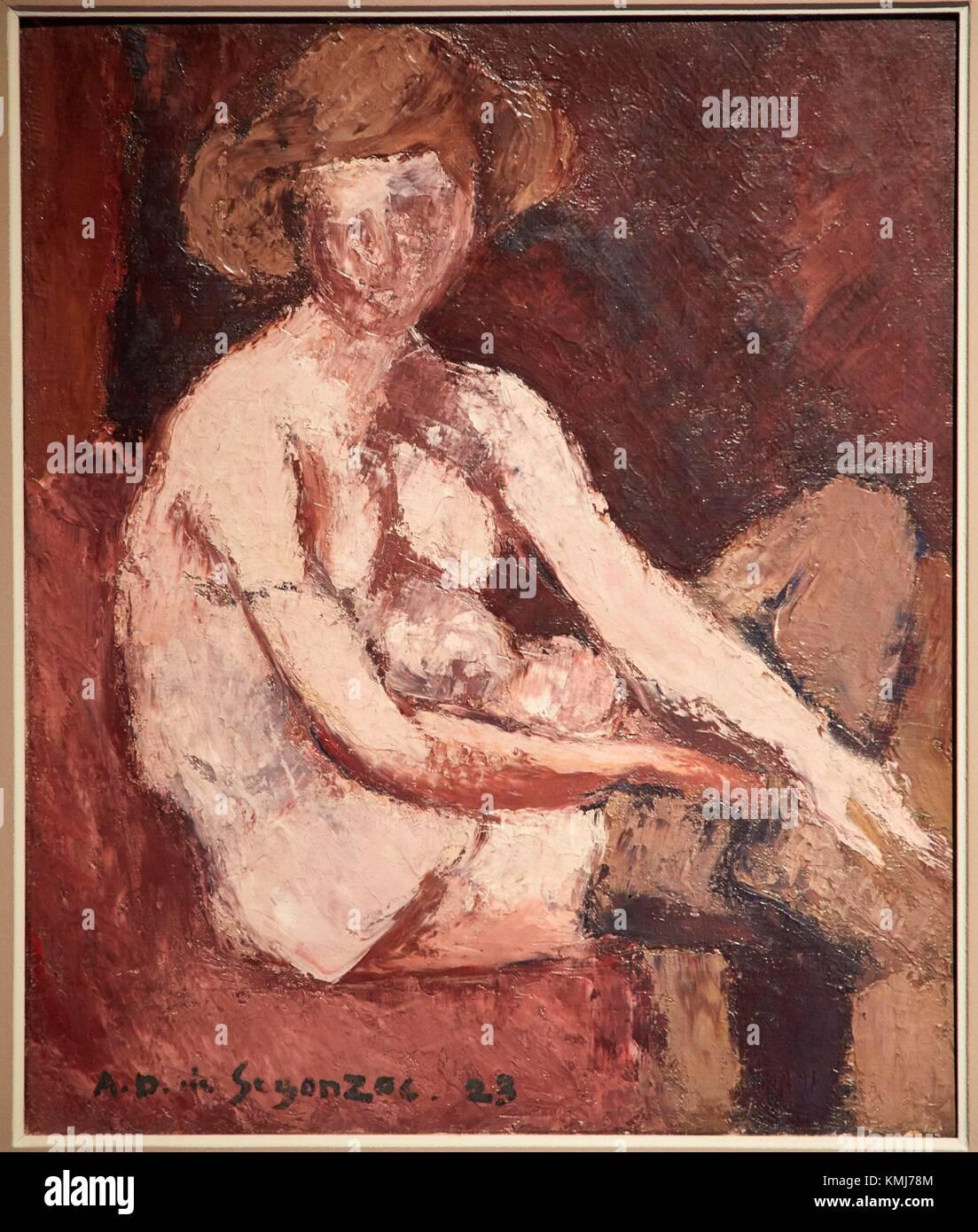 Femme aux bas gris, 1923, André Dunoyer de Segonzac, Musée d'Art Moderne, Troyes, Champagne-Ardenne - Stock Image