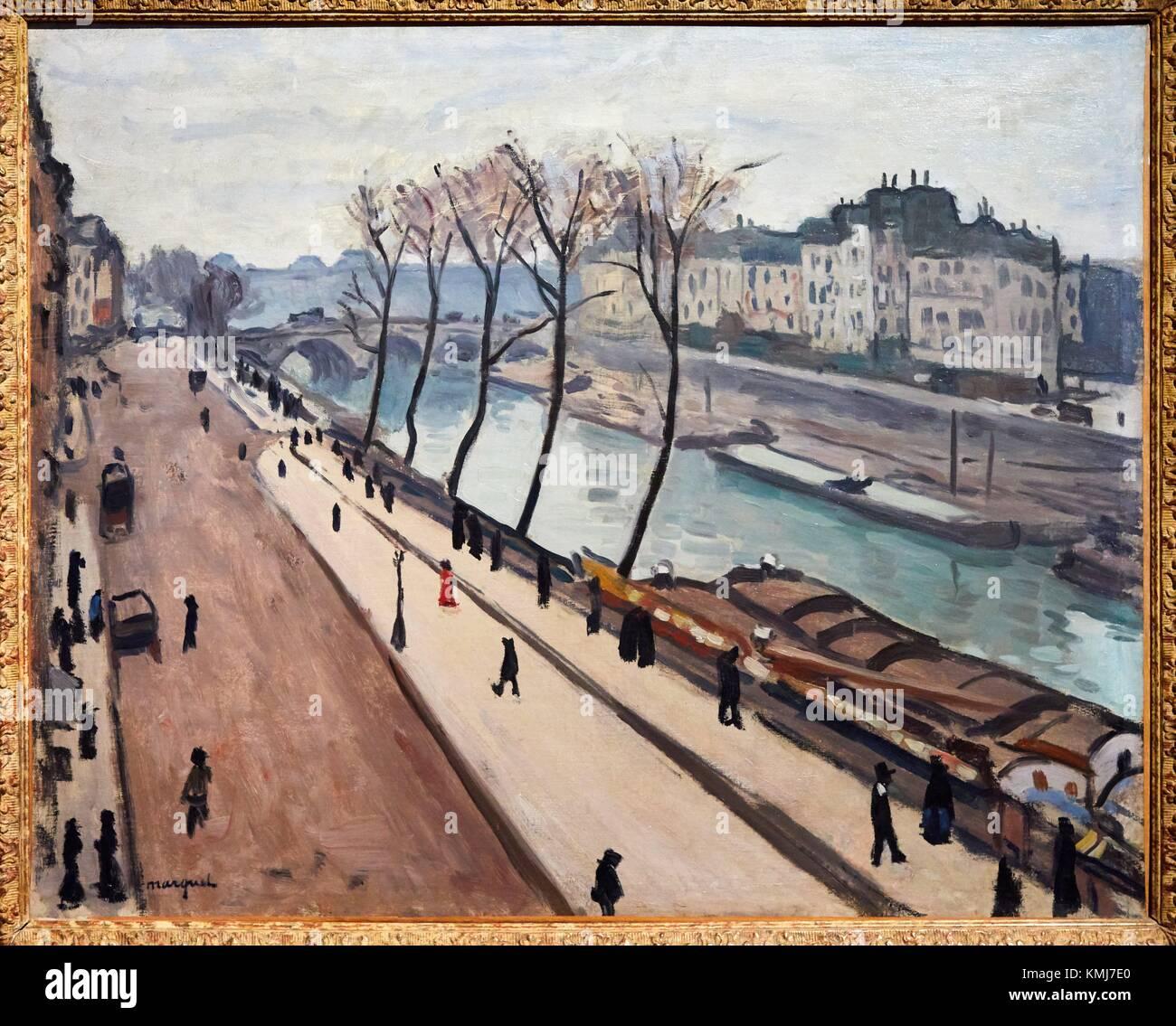 La Seine vue du quai des Grands-Augustins, 1906, Albert Marquet, Musée d'Art Moderne, Troyes, Champagne - Stock Image
