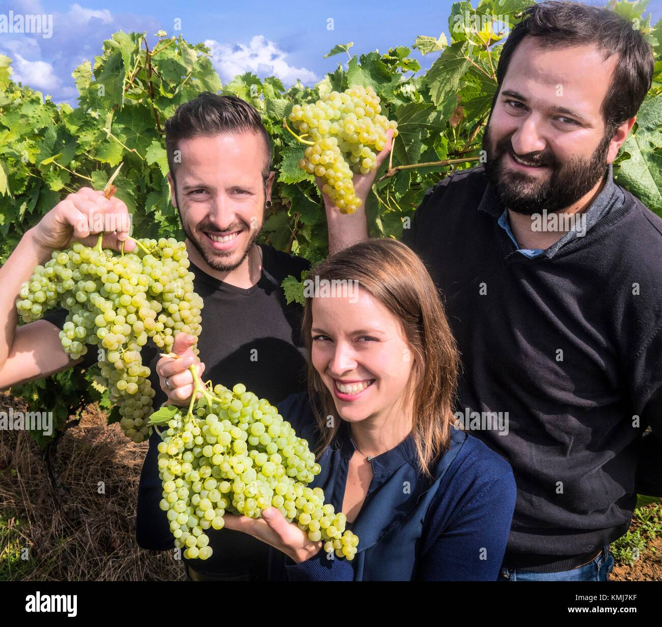France, Midi Pyrénnées, Gers. the new generation, Kevin,Vanessa and Gaël Gessler of winees and armagnacs - Stock Image