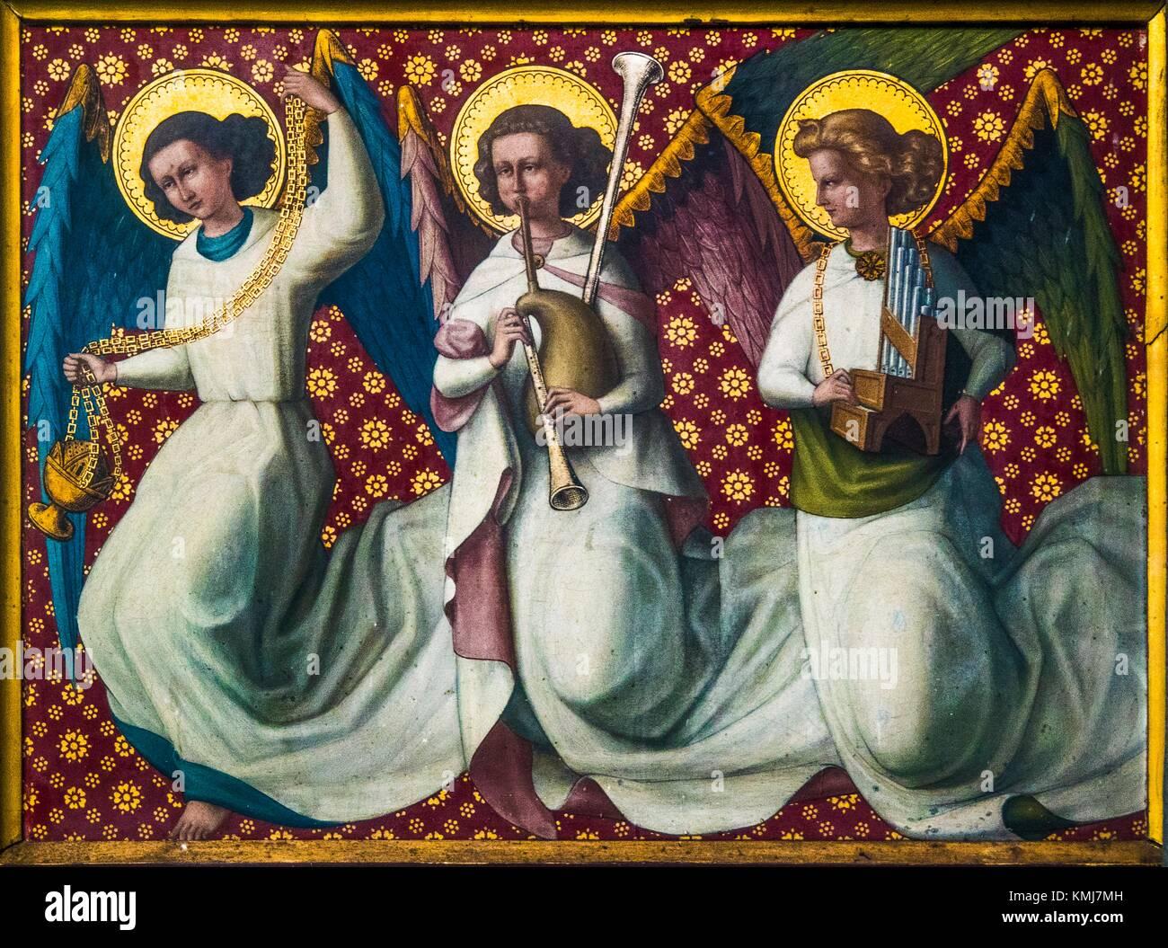 Belgium, Dinant- ''Collegiale de Notre Dame'': painted wood panel, XVIc. representing angels. - Stock Image